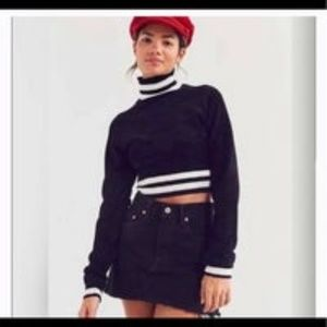 Urban Outfitters Black Fuzzy Turtleneck Crop Top